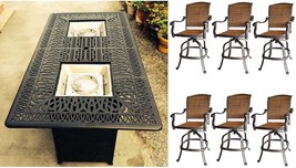 Bar height fire pit table set propane 7 piece cast aluminum outdoor wicker patio image 1
