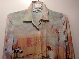 Western Style Collared Button Up Silk Blouse Sz S Nicole Taylor image 2
