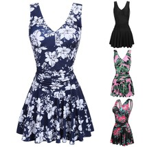 Women Plus-Size V-Neck One Piece Swim Dress Swimsuit Padded Floral Beach... - $33.66