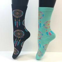 2 PAIRS Foozy's Women's Socks DREAMCATCHER Print, Black/Blue, New with Tags - $8.99