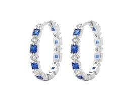 Dainty Sapphire+Clear 5A CZ Sterling Silver Eternity Hoop Earrings-Vermeil - $49.49