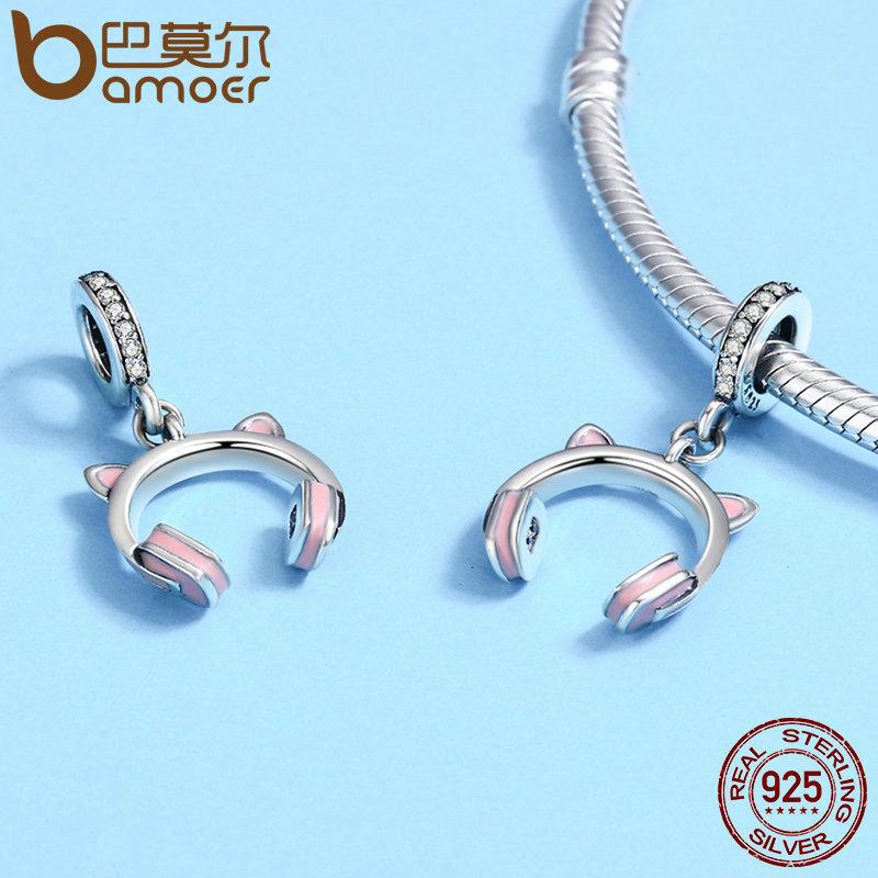 New Arrival 925 Sterling Silver Cat Ear Earphone Dangle Pendant Charm
