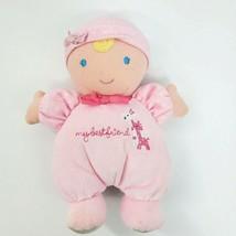 """8"""" Carters Doll My Best Friend Lovey & Rattle Pink Polka Dot Giraffe Blo... - $12.97"""