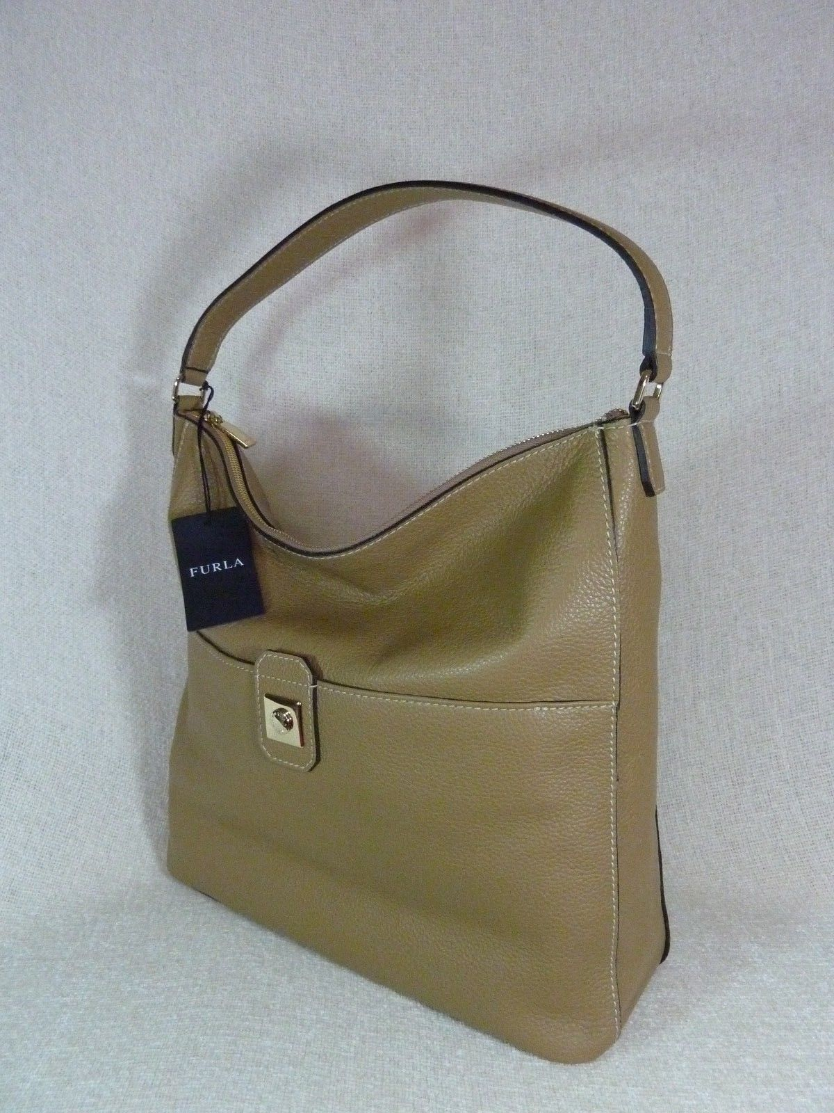NWT Furla Cappuccino Pebbled Leather Jo Vertical Tote Bag image 6