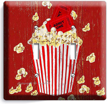 Pop Corn Tv Room Home Movie Theater Rustic 2 Gang Light Switch Wall Plates Decor - $11.69
