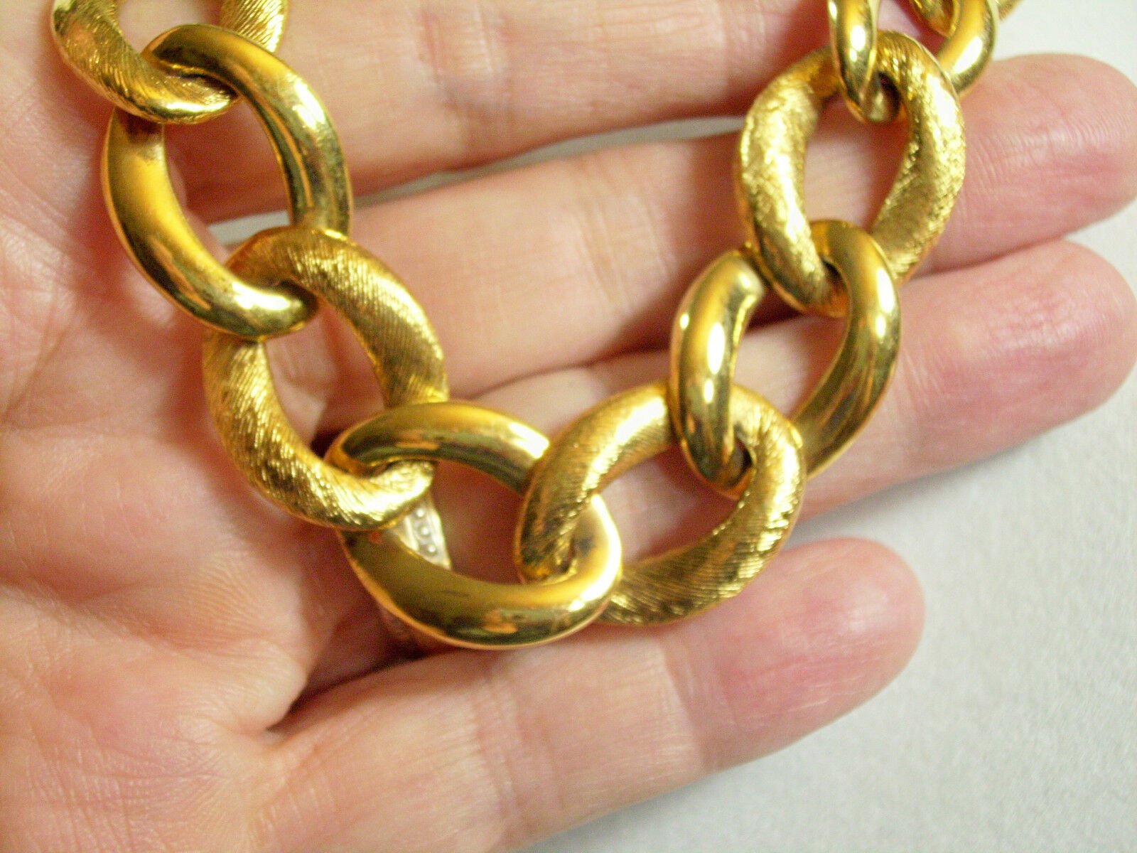 NAPIER Gold Plate CURB Link Necklace BRUSHED n SHINY Graduated Classic Vintage