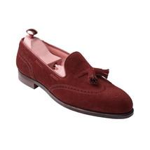 Handmade Men's Burgundy Wing Tip Brogues Tassel Slip Ons Loafer Suede Shoes image 2