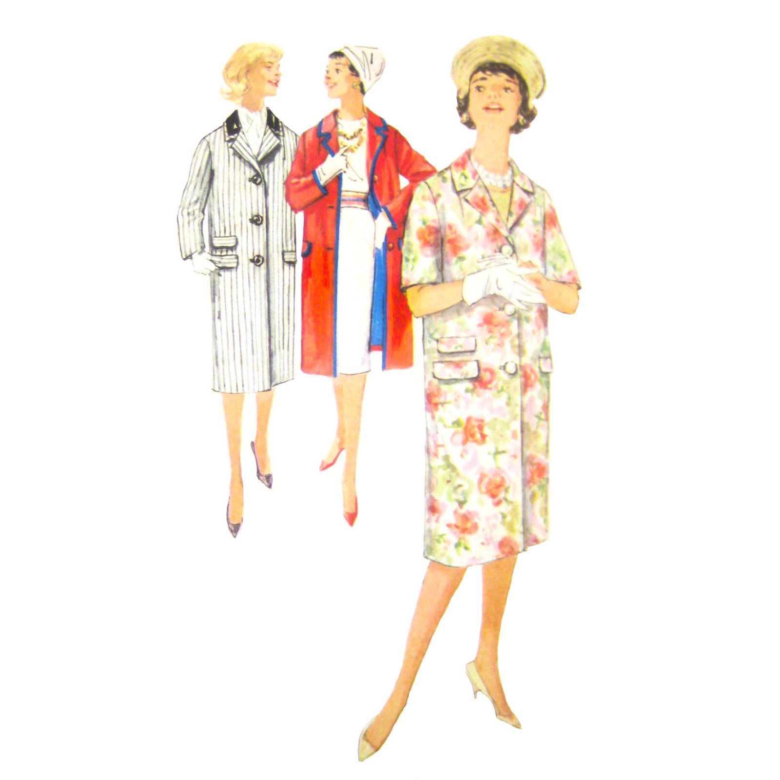 Primary image for 1960s Vintage Simplicity Sewing Pattern 3307 Misses Lined Coat Contrast 12/32