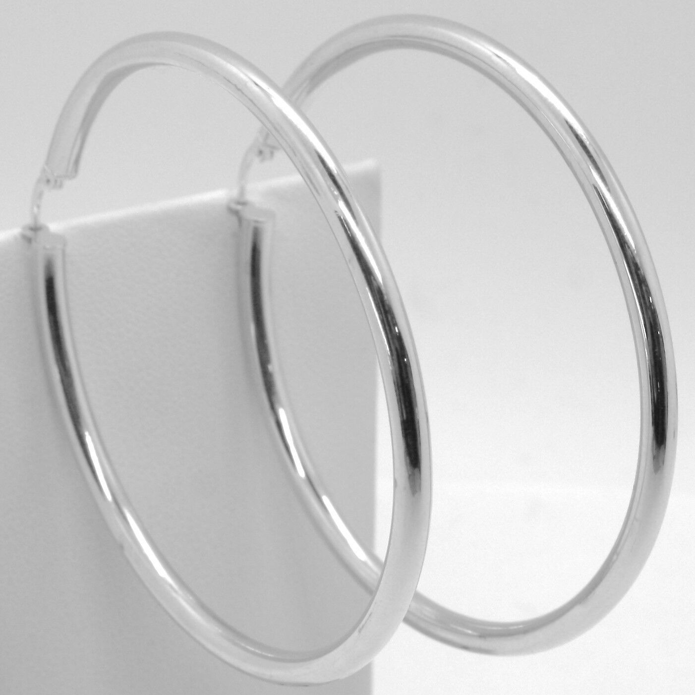 18K WHITE GOLD ROUND CIRCLE EARRINGS DIAMETER 70 MM, WIDTH 3 MM, MADE IN ITALY