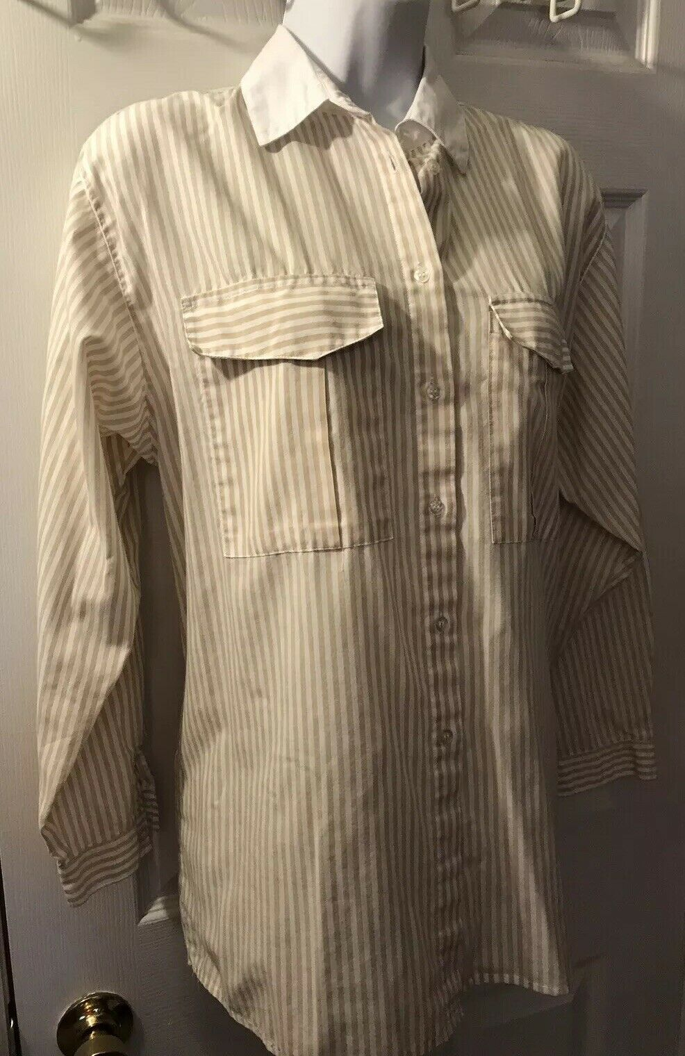 Vtg DIANE VON FURSTENBERG Striped Button Down Shirt DVF White Tan Blouse Top 14 image 2