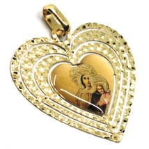 18K YELLOW GOLD BIG 28mm HEART MEDAL VIRGIN MARY OF MOUNT CARMEL WORKED FRAME image 2