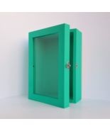 5x8 Turquoise Deep Wooden Shadow Box Frame with Glass Door, Memory Box, ... - $49.00