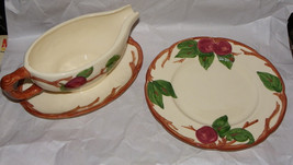 Franciscan Earthenware USA Red Apples Green Leaves Ivy Gravy Boat & Plate - $16.33