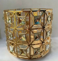 Bath And Body Works Gold Square Sparkle Crystal Gem 3 Wick Candle Holder New - $24.70