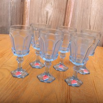 6 Fostoria Virginia Blue Wine Goblets Water Glasses Hexagon Foot - $46.74