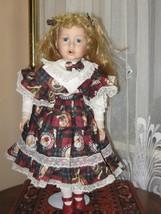 Vintage Porcelain Red Hair Doll Heather 9503B Wearing Bear Dress Europe ... - $67.54