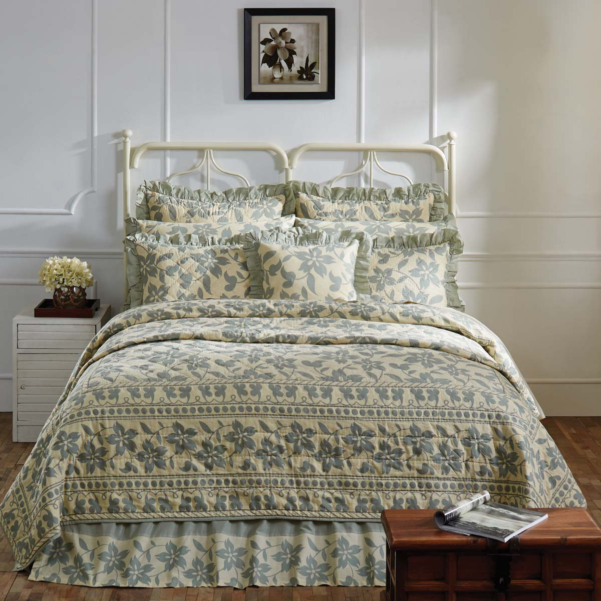 Briar Sage King Quilt Set - 9 Pieces - Sale Priced - $50 Off - Vhc Brands