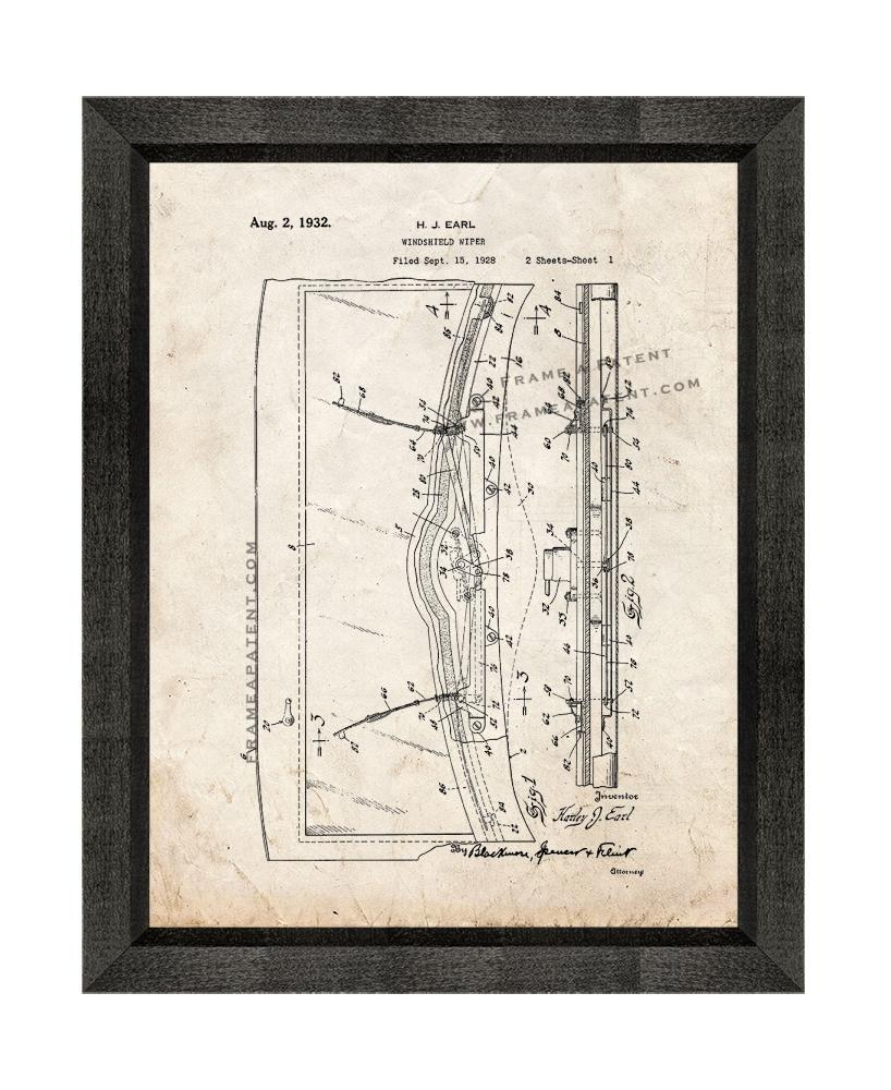 Primary image for Windshield Wiper Patent Print Old Look with Beveled Wood Frame