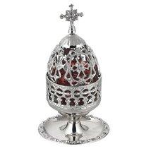 Nickel Plated Greek Christian Orthodox Vigil Lamp (83 N) - $60.17