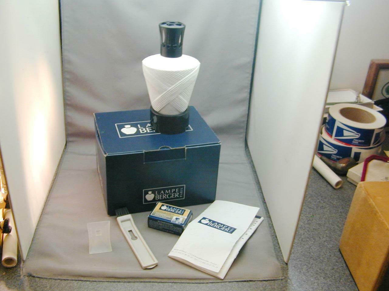 FAB Lampe Berger Paris Fragrance Lamp Matte Embossed White Porcelain In Box - $150.00