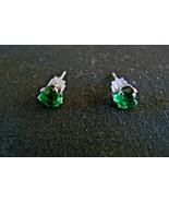 Cute Pair Sterling Silver Green Peridot Heart Shaped Post Earrings - $9.89