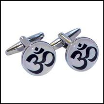 round silver om design OM Cufflinks in gift box, cuff links all our cufflinks