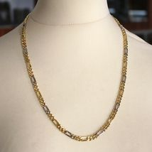 """18K YELLOW WHITE GOLD CHAIN BIG 6 MM ROUNDED FIGARO GOURMETTE ALTERNATE 3+1, 20"""" image 5"""