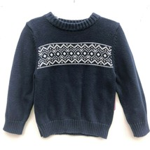 EUC Toddler Boys 3T Navy Blue White Winter Knit Pullover Nordic Sweater  - $4.99
