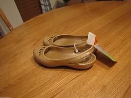 Women's crocs Malindi flat shoe RARE ballet 4 J2 slip on gold strap sling back - $13.06