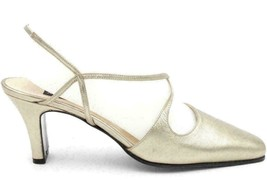 Anne Klein II Women Slingback Heels Size US 7M Gold Leather - $42.14