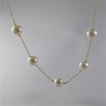 18K YELLO GOLD NECKLACE WITH ROUND WHITE FRESHWATER PEARLS MADE IN ITALY  image 1