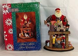 "Christmas Santa Figurine Fabric Mache Tabletop 11"" Decor Workshop Toy Ma... - $28.66"