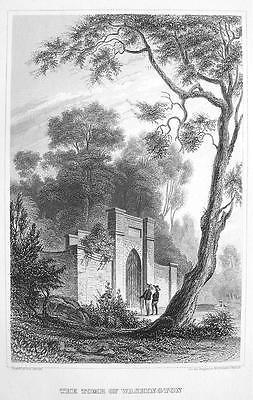 G. WASHINGTON TOMB at Mount Vernon Virginia - Antique Print Engraving