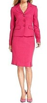 Evan Picone Costume Jupe Taille 8 Rose Fuschia St.Morritz Plissé Ourlet ... - $79.17