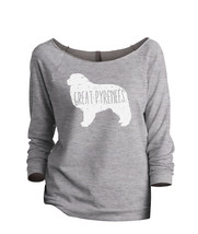 Thread Tank Great Pyrenees Dog Silhouette Women's Slouchy 3/4 Sleeves Raglan Swe - $24.99+