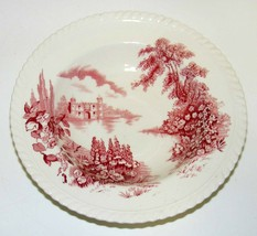 """Castle On The Lake Pink Red by Johnson Brothers 8"""" Rim Soup Bowl - $15.00"""