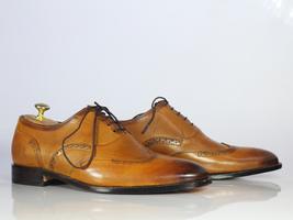 Handmade Men's Tan Wing Tip Brogues Lace Up Dress/Formal Leather Oxford Shoes image 5