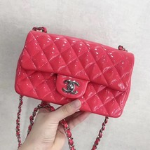 AUTH NEW Chanel RARE PINK Quilted PATENT LEATHER Large Mini 20CM Flap Bag SHW image 2
