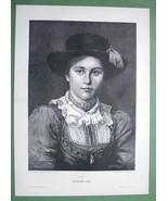 "LONEI Lovely Tyrol Girl Folk Costume -  Victorian Era Print 14.5"" x 21"" - $20.21"