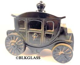Powder Jar Puff Box Black Glass 1930s Royal Coach Princess Crest Carriag... - $144.99
