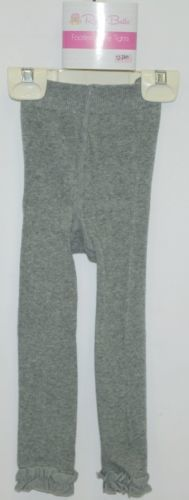 RuffleButts RLKCL120000 Charcoal Ruffle Footless Tights Size 12 to 24 Months