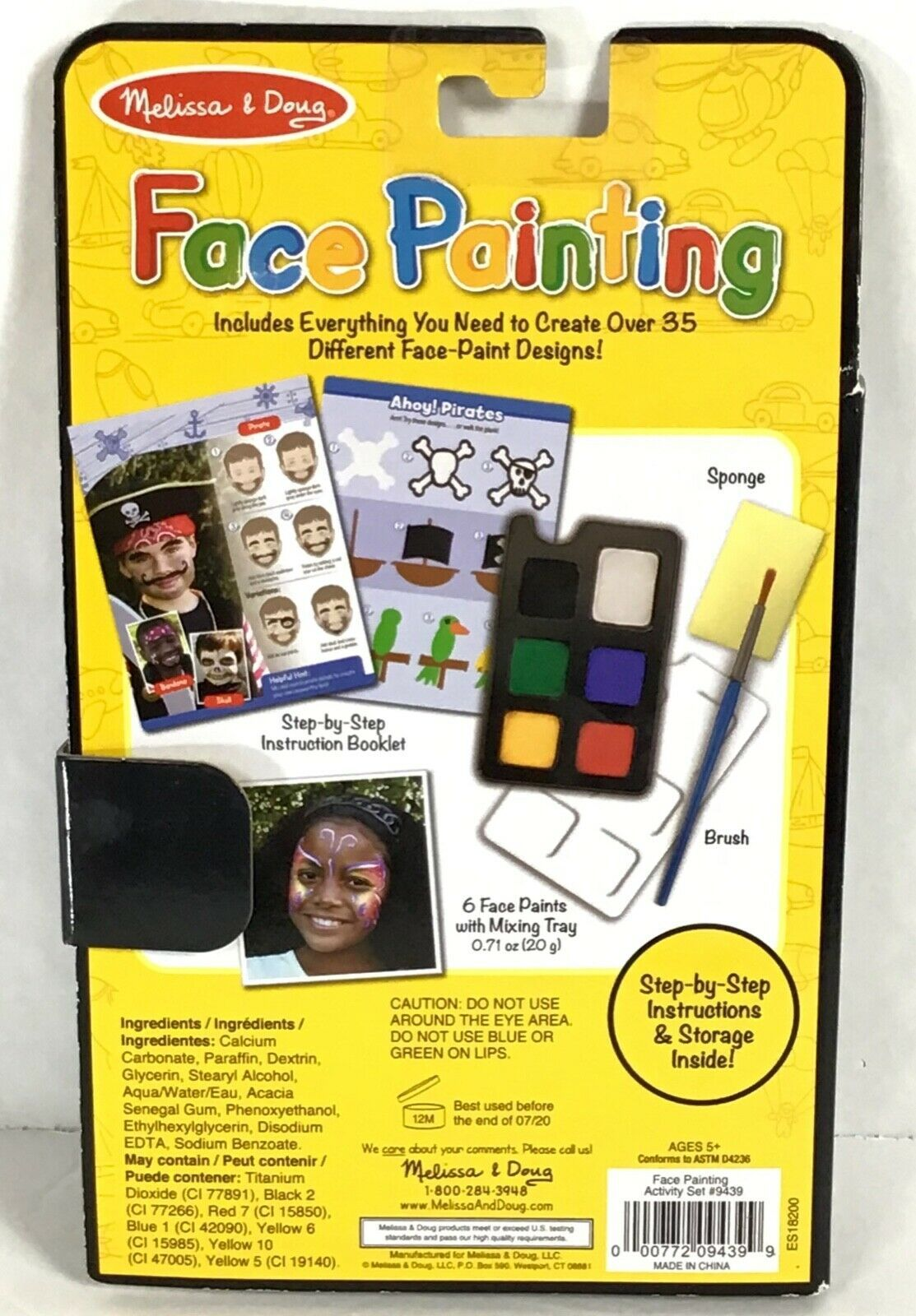 Melissa Doug Face Painting Design Kit Craft Activity Set Book Travel Play P5-20 image 2
