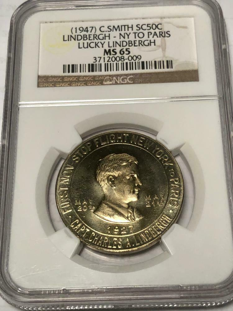 Primary image for (1947) C. Smith So Called 50C - NY to Paris Lucky Lindbergh Medal - NGC MS-65