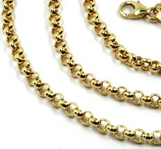 9K YELLOW GOLD CHAIN ROLO CIRCLE LINKS 3.5 MM THICKNESS, 20 INCHES, 50 CM image 3