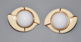 Vintage Signed Monet Clip Earrings Gold Cream Colored Enamel   - $11.40