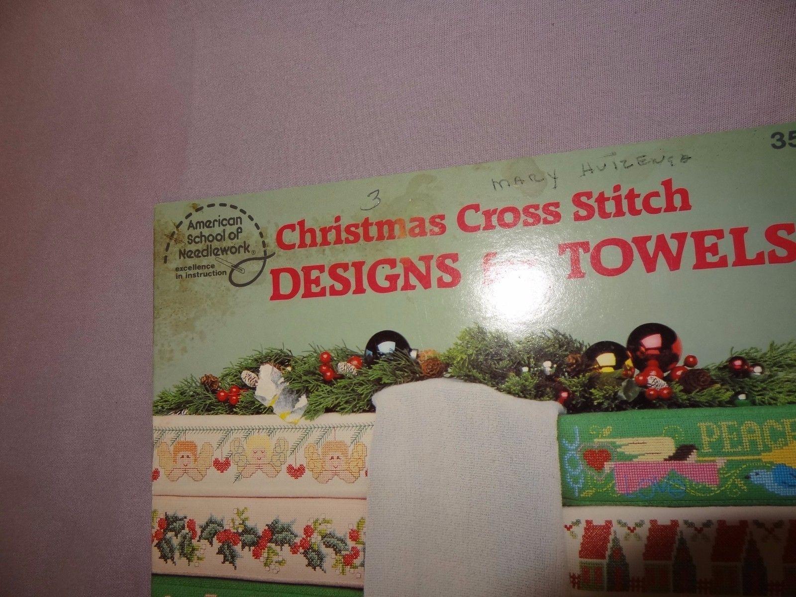 Christmas Cross Stitch Designs Towels Cross Stitch 1987 Pattern Booklet 3506
