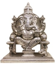 Lord Ganesha Statue Pure Silver Work Carving Wooden IndianMB004SH - $2,364.55