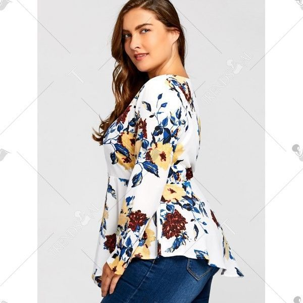 Ladies Plus Size White & Floral Long Sleeve Blouse Fashionable Top 3X 4X 5X