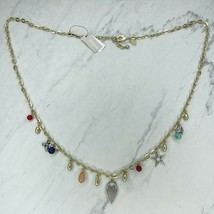 Chico's Gold Tone Beaded Bee Heart Lady Bug Charm Necklace - $29.02