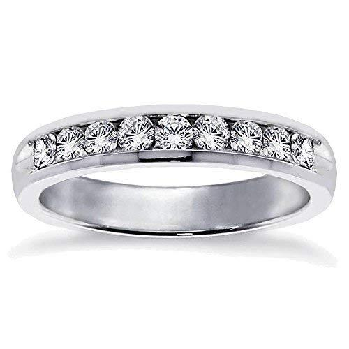VIP Jewelry Art 0.75 CT Channel Set Anniversary Round Diamond Wedding Band in Pl